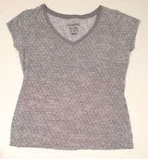 Aeropostale Women Gray V Neck Triangle Print Short Sleeve Shirt Top - Size XL