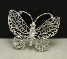 Genuine Solid Hallmarked 925 Handmade Sterling Silver Brooch Butterfly Filigree