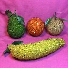 Lot Of 4 Vintage Pieces Of Push Pin Fruit - Peach - Pear - Orange - Banana