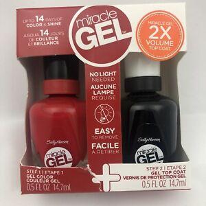 (2 Bottle) Sally Hansen Miracle Gel  + Top Coat Nail Color Polish Duo Set