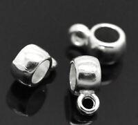 "100PCs Silver Plated Bail Beads 9mmx4mm( 3/8""x 1/8"") CDIY."