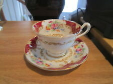 Royal Albert Canterbury Cup & Saucer - Red Panels, Tan Scrolls, Floral