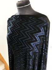 Glittering Chevron Royal Blue/Black Stretch Jersey Dressmaking Fabric 2.4mts