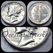 AU 1940-S 10C Mercury Dime - San Francisco Mint - US 90% Silver Coin