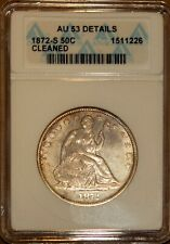 1872-S Silver Seated Liberty Half-dollar AU 53 Details ANACS 1511226