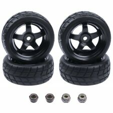 4 RC Tires & Wheel Rims 12mm Hex 5 Spoke for 1/10 Scale On Road Touring Car