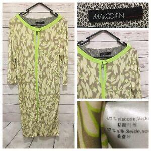 MARC CAIN Size N4 Floral Leaf Pattern Viscose Silk Dress Green