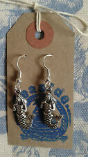 HAND MADE Mermaid 3D Silver Plated Drop Earrings Nautical Ocean Seaside