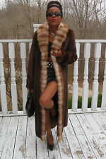 New Designer long Full length Mink & Sable Stone marten fur Coat Jacket S-M 6-12