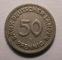 50 Pfennig Münze 1949 Kennzeichnung - G - Selten Gebraucht !TOP! 50PF K-1382