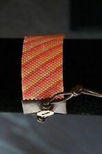 NEW Designer Chan Luu Seed Bead Diagonal Striped Peach Mix Cuff Wrap Bracelet
