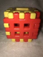 """Vintage Little Tikes Wee Waffle Blocks 4"""" Dollhouse Cube 6 Piece Lot Red Yellow"""