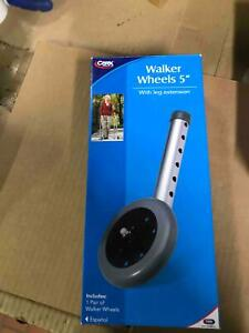 """New In Box Carex 5"""" Urethane Walker Wheels With Leg Extension"""