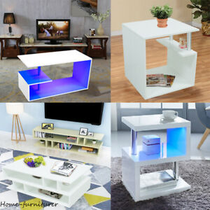 Coffee Table High Gloss Modern White Sideboard Living Room LED Side End Table