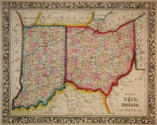 1860 Genuine Antique Map of Ohio & Indiana. A Mitchell