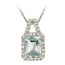 925 Silver 3.4ct Blue Topaz and Diamond Accent Necklace