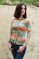 Women's Vintage Polyester Shirt Top Orange Blue Size Xs Small