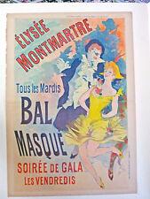 JULES CHERET - ORIGINAL VINTAGE POSTER - ELYSSE MONTMARTRE BAL MASQUE - 1891