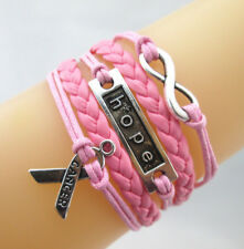 Infinity/Hope/Breast Cancer Awareness Ribbon Charm Leather Bracelet Hot Pink