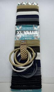 Conair Polytail Holder Free Hair Elastics And Keeper Brown,White,Gray,Navy-(60)