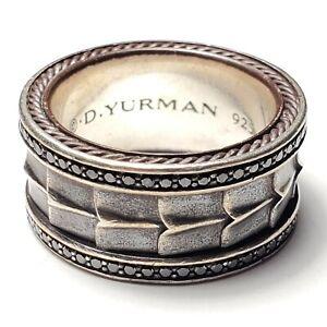 $1950 DAVID YURMAN STERLING SILVER MENS ARMORY BLACK DIAMOND BAND RING SIZE 10