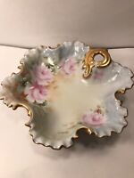 VINTAGE PORCELAIN BOWL HAND PAINTED PINK ROSES WITH GOLD TONE TRIM 7 1/2''
