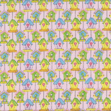 Cute Birdhouses with Love Hearts Birds on  Pink Quilting Fabric FQ or Metre *New