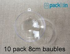 8cm (x10 qty) Clear Acrylic Two Piece ROUND Baubles Balls christmas ornaments