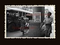 1940s RICKSHAW BUS YOUNG MAN STREET SCENE ADS  Vintage Hong Kong Photo #1714