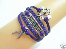 Hot Butterfly/Hope/Cancer Sign Ribbon Charms Leather Braided Bracelet - Purple
