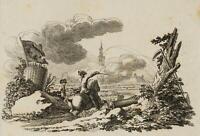 CHODOWIECKI (1726-1801). Bombardement der Festung Schweidnitz; Druckgraphik
