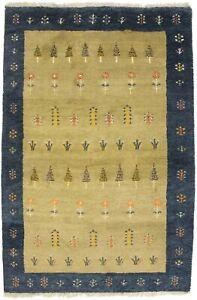 Beige Dark Gray Tribal Border Design 4X6 Indo-Gabbeh Oriental Rug Decor Carpet