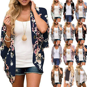 Plus Size Women Floral Cardigan Ladies Bell Sleeve Kimono Summer Cover Up Blouse