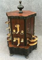 Large antique french Napoleon III cigar cellar dispenser 19th century wood brass