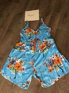 Plus Size 18 20 22 Jumpsuit Playsuit Romper Blue Orange Floral