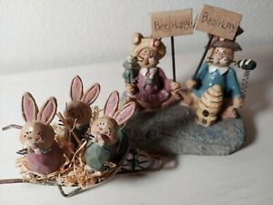 """Bunny Family Playground 2 Pcs Easter Country """"Be Happy"""""""