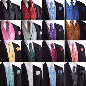 Men's Paisley Waistcoat Vest and Tie Handkerchief Set For Suit Wedding UK