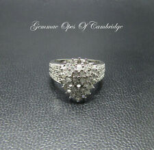 9K gold 9ct White Gold Diamond Cluster Ring Size L 4.6g