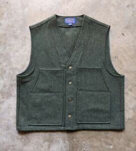 Pendleton Mens 2XL XXL Green 100% Wool Sleeveless Sweater Vest Casual Excellent