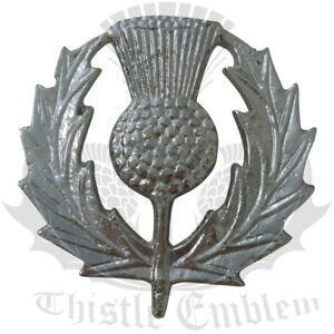 TE Glengarry Cap Badge Thistle Heritage Chrome Finish/Scottish Pin Caps Badges