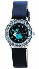 NEW TIKKERS FLOWER GIRLS WATCH STONE SET CASE/ BLACK FAUX LEATHER STRAPS AKG-006