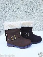 Filles bottes bottine zip fourrure fourrée hiver chaussure chaud T 19/36 DC-21