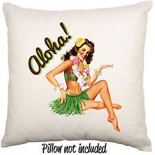 Vintage Pin Up Pinup Girl Aloha Hawaii Tiki Rockabilly Linen Throw Cushion Cover