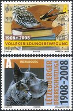 Luxembourg 2008 Owl/Cat/Dog/Music/Books/Birds/Animals/Nature 2v set (lu10162)