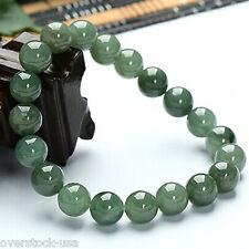 100% Natural Grade A Jade (Green jadeite) 10mm Round Bead Bracelet