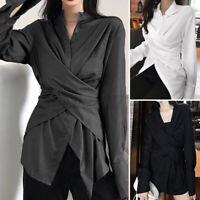 Belle Femme Chemise Loisir Quotidien Asymétrique Manche Longue Haut Shirt Plus