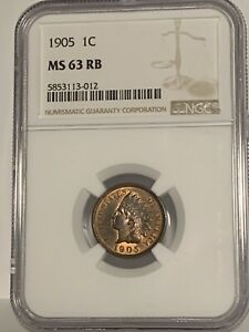 1905 BRONZE INDIAN HEAD CENT 1C NGC MS 63 RB SMALL CENT