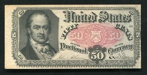 FR. 1381 50 FIFTY CENTS FIFTH ISSUE FRACTIONAL CURRENCY NOTE EXTREMELY FINE