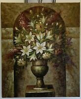 Original Oil Canvas Painting Signed Vase Flowers Lilies Still Life Ancient Style