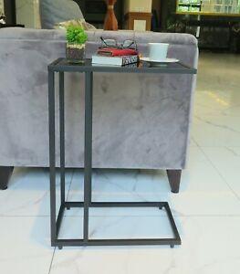 Bellini C Shape Table,Sofa/Side/End/Laptop Table-Black Tempered Glass-ST83BK